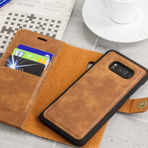 Protect your Galaxy S8 with this ingenious and luxurious leather-style and genuine cowhide wallet case in tan. This stylish wallet case stores your cards and documents. Detachable magnetic shell case makes this 2-in-1 for extra convenience.