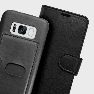 This stylish case for Samsung Galaxy S8 is packed full of features, including a media viewing stand function, detachable 2-in-1 hard case with separate card slots, and an elegant eco-friendly flip wallet case with room for 3 cards.