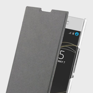 This officially licensed black minimalist book case by Roxfit houses the Sony Xperia L1 within a form-fitting frame, crafted from a slim clear shell and featuring a super-slim PU front flap.