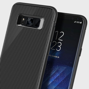 The Obliq Flex Pro Shell Case in black is a stylish and ergonomic protective case for the Samsung Galaxy S8, providing impact absorption and fantastic grip due to the textured surface.