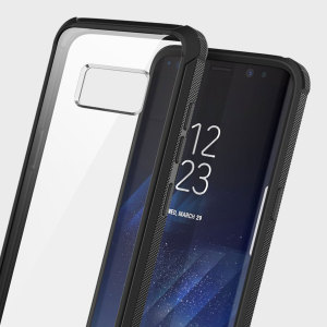 Protect the back and sides of your Samsung Galaxy S8 while preserving the sleek aesthetics with the black and clear Naked Shield bumper case from Obliq.