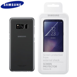 Keep your Samsung Galaxy S8 Plus and its fabulous screen in fantastic condition with the official black Samsung Clear Cover case and scratch resistant screen protectors. This pack represents amazing value.