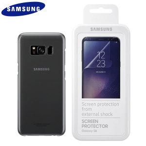 Halten Sie Ihr Samsung Galaxy S8 Plus und seine fabelhafte Bildschirm in fantastischen Zustand mit dem offiziellen schwarzen Samsung Clear Cover Fall und kratzfeste Displayschutzfolien. Diese Packung repräsentiert erstaunlichen Wer
