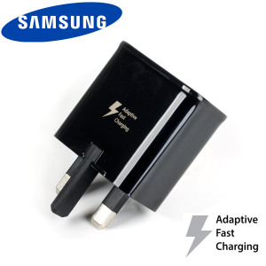 A genuine black Samsung UK adaptive fast mains charger for your Samsung Galaxy smartphone. This is identical to the black charger supplied with the Samsung Galaxy S8, S8 Plus & Note 8 - EP-TA20UBE.