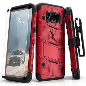 Equip your Samsung Galaxy S8 Plus with military grade protection and superb functionality with the ultra-rugged Bolt case in red from Zizo. Coming complete with a tempered glass screen protector and a handy belt clip / kickstand.