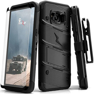 Equip your Samsung Galaxy S8 Plus with military grade protection and superb functionality with the ultra-rugged Bolt case in black from Zizo. Coming complete with a tempered glass screen protector and a handy belt clip / kickstand.