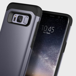 Protect your Samsung Galaxy S8 Plus with this stunning tough dual-layered armoured case in orchid grey. Made with robust dual-layered yet slim material, this TPU body with a sleek outer layer features an attractive two-tone finish.