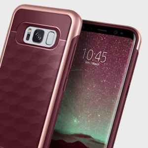 Protect your Samsung Galaxy S8 with this stunning premium dual-layered shell case in burgundy. Made with tough dual-layered yet slim material, this hardshell body with a sleek metallic bumper features an attractive two-tone finish.