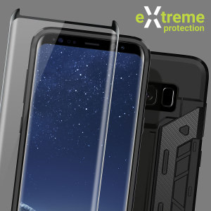 Guard your beautiful Samsung Galaxy S8 from damage with the Olixar Extreme Protection Pack. Featuring a rugged X-Trex case and a case compatible tempered glass screen protector, this pack provides the ultimate in 360 degree protection.