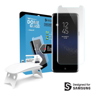 The Dome Glass screen protector for Samsung Galaxy S8 Plus from Whitestone uses a proprietary UV adhesive installation to ensure a total and perfect fit for your device. Also featuring 9H hardness for absolute protection and 100% touch sensitivity.