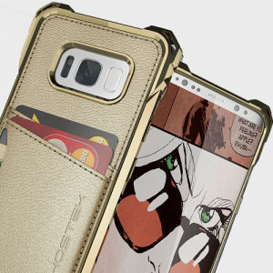 The Exec premium case in gold comes complete with a screen protector to provide your Samsung Galaxy S8 Plus with fantastic protection. Also featuring storage slots for your credit cards, ID and cash.