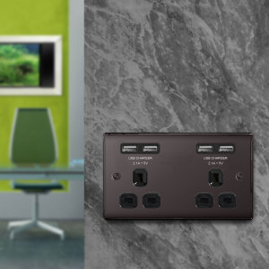 This stylish black nickel 2 gang power socket allows you to charge your mobile devices while keeping your precious plug sockets free for other devices. With 4 USB ports sharing 4.2A at 5V output you have enough power for the whole family.