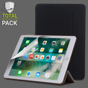 Guard your beautiful iPad 2017 from damage with the Olixar Total Protection Pack. Featuring a folding stand case and a twin pack of screen protectors, this pack provides the ultimate in lightweight convenient protection.