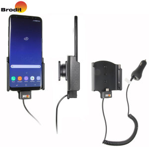 Charge and use your Samsung Galaxy S8 Plus in your vehicle with this Brodit active holder with tilt swivel. Conveniently docking your phone, the Brodit Active Holder allows you to use heavy battery consuming apps while you drive.