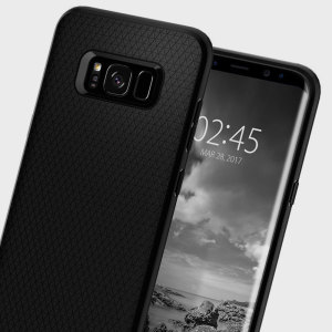 The Spigen Liquid Air Armor in black is a TPU lightweight protective case. Spigen's flexible and elastic material reduces the thickness of the case while providing shock absorption and a comfortable grip for your Samsung Galaxy S8 Plus.