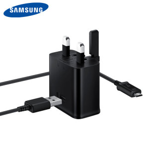 A genuine black Samsung UK 2A mains charger for your Samsung Galaxy smartphone. Comes complete with a Micro USB cable for all compatible Samsung Galaxy devices, including Galaxy J3 2017, S7, S7 Edge and more.
