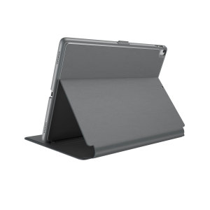 "Provide sophisticated and elegant protection for your Apple iPad Air 2 with the Balance Folio case in a stylish ""Stormy Grey / Charcoal Grey"" design from Speck. Complete with a multi-angle viewing stand and secure closure system."