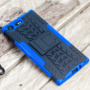 Protect your Sony Xperia XZ Premium from bumps and scrapes with this blue ArmourDillo case. Comprised of an inner TPU case and an outer impact-resistant exoskeleton, with a built-in viewing stand.