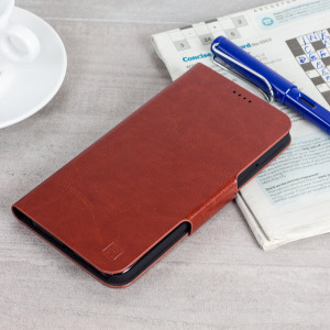 Protect your HTC U11 with this durable and stylish brown leather-style wallet case by Olixar. What's more, this case transforms into a handy stand to view media.