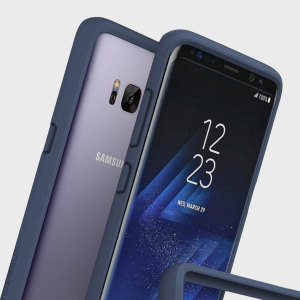 Shield your Samsung Galaxy S8 Plus from drops, scratches, scrapes and other damage with the dark blue CrashGuard bumper from RhinoShield. This case offers great protection while adding virtually no bulk thanks to a shock-dispersing hexagonal structure.