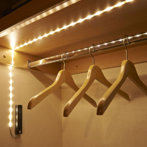 The ideal accessory for any smart home, this 1m strip of super-bright LED lights from AGL use a clever sensor to detect motion from up to 2 metres away. Bring light to your wardrobe, shed, or under your bed - everything is illuminated, no wires required.