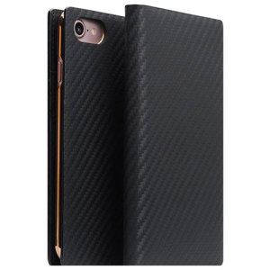 Crafted from genuine leather, this black carbon genuine leather wallet case from SLG is the perfect and most stylish way to protect your iPhone 7, whilst storing your credit cards, ID and cash.