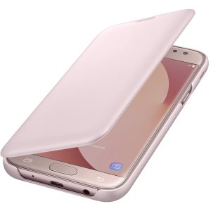 Protect your Samsung Galaxy J5 2017's back, sides and screen from harm while keeping your most vital cards close to hand with the official flip wallet cover in pink from Samsung.