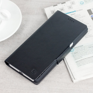 Protect your BlackBerry KeyONE with this durable and stylish black leather-style wallet case by Olixar. What's more, this case transforms into a handy stand to view media.
