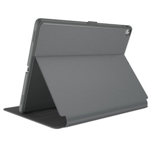 "Provide sophisticated and elegant protection for your Apple iPad Pro 10.5 with the StyleFolio case in a stylish ""Stormy Grey / Charcoal Grey"" design from Speck. Complete with a multi-angle viewing stand and secure closure system."