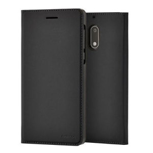 Protect your Nokia 6's back, sides and screen from harm while keeping your most vital card close to hand with the official flip wallet cover in black from Nokia.