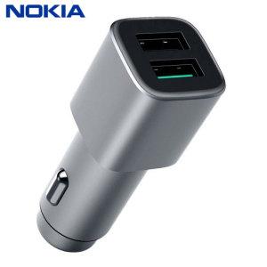 Optez pour ce chargeur voiture officiel Nokia Double USB en coloris argent. Doté d'un design élégant et capable de vous fournir une charge constante et rapide, ce chargeur est un must. Grâce à ses deux ports USB, branchez votre Nokia et n'importe quel autre smartphone simultanément. Ce chargeur est compatible avec le chargement rapide Qualcomm 3.0.