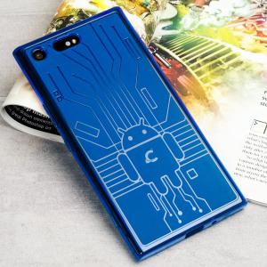 Protégez votre Sony Xperia XZ Premium contre les dommages accidentels à l'aide de cette coque en TPU bleu, conçue par Cruzerlite. Résistante et légère, son design s'inspire d'un circuit imprimé Android.