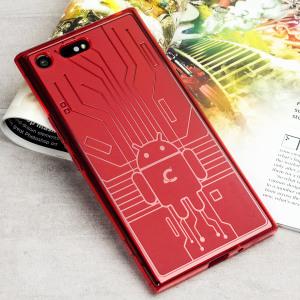 Protégez votre Sony Xperia XZ Premium contre les dommages accidentels à l'aide de cette coque en TPU rouge, conçue par Cruzerlite. Résistante et légère, son design s'inspire d'un circuit imprimé Android.