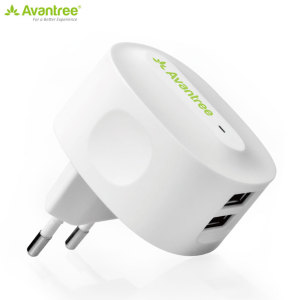 This Avantree Dual USB EU Mains Charger is a compact adapter with two USB charging ports powerful enough to charge a tablet and a smartphone simultaneously.