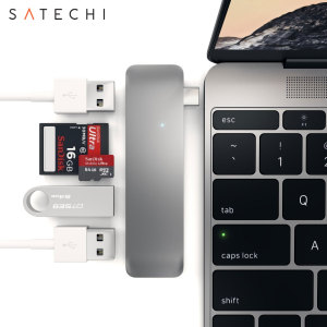 Using the USB-C (USB Type-C) port on your MacBook with USB-C, add 3 full-sized USB ports, an SD card slot and a micro SD card slot to your computer with this adapter in space grey. Plug in USB devices such as a keyboard, mouse or printer to your MacBook.