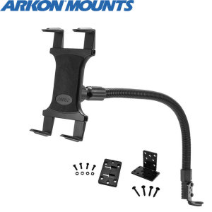 "Arkon's Universal Tablet Car Mount features an innovative holder that adjusts to fit any 7"" - 12"" tablet and attaches to your car's seat rail bolt. The gooseneck arm on this holder is 22"", making the mount ideal for larger vehicles and smaller ones too."
