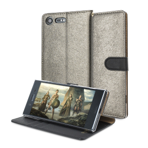 Seek sleek genuine leather protection with the golden black Genuine Calf Leather Sony Xperia XZ Premium wallet case from Hansmare. Featuring integrated slots for cards and tickets, this is the perfect utility case to keep your phone safe and pristine.