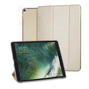 Protect your iPad Pro 10.5 with this supremely functional transparent and gold case with viewing stand feature. Also features smart sleep / wake functionality.