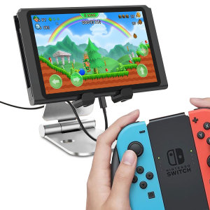 Display your Nintendo Switch with this stylish and minimalist aluminium stand from Olixar. The cut-out keeps your charging cable in good order and your desk tidy, while the padded grips hold your Switch sturdily and securely.