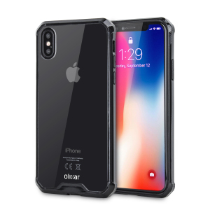Custom moulded for the iPhone X. This black and clear Olixar ExoShield tough case provides a slim fitting stylish design and reinforced corner shock protection against damage, keeping your device looking great at all times.