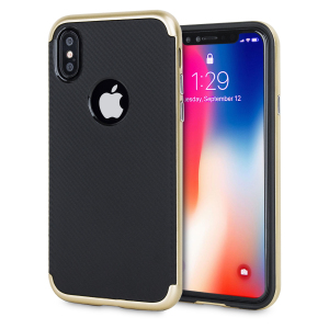 Hybrid layers of robust TPU and hardened polycarbonate with a premium matte finish non-slip carbon fibre design, the Olixar X-Duo case in black and gold keeps your iPhone X safe, sleek and stylish.