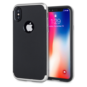 Hybrid layers of robust TPU and hardened polycarbonate with a premium matte finish non-slip carbon fibre design, the Olixar XDuo case in black and silver keeps your iPhone X safe, sleek and stylish.