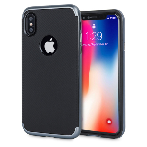 Hybrid layers of robust TPU and hardened polycarbonate with a premium matte finish non-slip carbon fibre design, the Olixar XDuo case in black and metallic grey keeps your iPhone X safe, sleek and stylish.