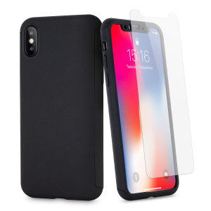 Full front, back and screen protection is as easy as 1-2-3 with the Olixar X-Trio in tactical black. With a slimline shell for the back and front that clips together seamlessly - and a glass screen protector, your iPhone X is fully encased and safe.
