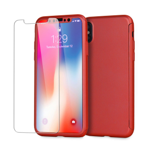 Full front, back and screen protection is as easy as 1-2-3 with the Olixar X-Trio in brazen red. With a slimline shell for the back and front that clips together seamlessly - and a glass screen protector, your iPhone X is fully encased and safe.