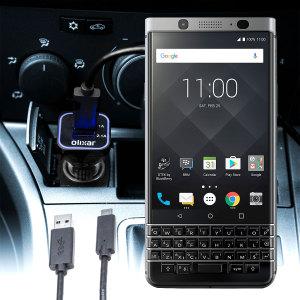 Houd je BlackBerry KEYone volledig opgeladen op de weg met deze compatibele Olixar-oplader voor high power-auto's.