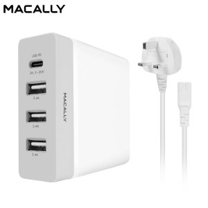 This compact, powerful wall charger from Macally is specifically designed for charging power-hungry devices. With a dedicated 3A USB-C port as well as 3 high-power standard USB ports, this hub will have your devices up and running in no time.