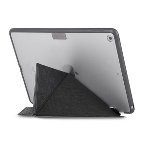 This unique stand case for iPad 2017 from Moshi in black features an innovative folding cover that doubles as a media viewing stand. The case also offers sturdy and complete protection thanks to a shock absorbing frame.