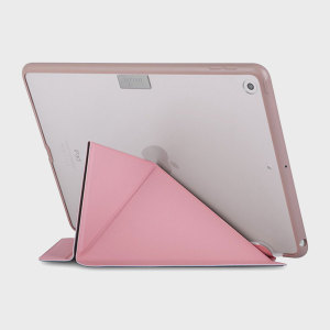 This unique stand case for iPad 2017 from Moshi in pink features an innovative folding cover that doubles as a media viewing stand. The case also offers sturdy and complete protection thanks to a shock absorbing frame.