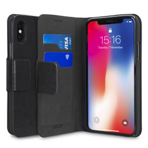 The Olixar leather-style iPhone X Wallet Case in black attaches to the back of your phone to provide enclosed protection and can also be used to hold your credit cards. So leave your regular wallet at home when you need to travel light.